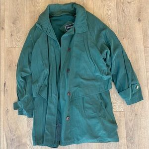 Gallery zipout lining trench raincoat L dark green